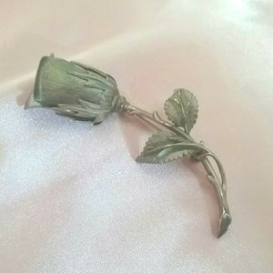 Vintage Jewelry - Vintage Silver Tone Rose Flower Pin Brooch